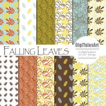 "Fall digital paper ""Falling Leaves"" digital clip art papers in blue, yellow, red, brown, autumn leaves, fall background"