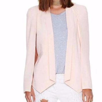 Women's Pink Cape Style Chic Blazer Suit Jacket