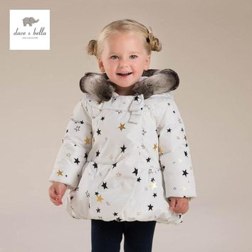 DB4127 davebella baby girls padded clothing  hooded padded coat  kids winter down jacket