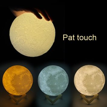 Rechargeable 3D Print Moon Lamp 2/3/7 Colors Change Touch Switch Bedroom Bookcase Night Light Home Decor Creative Gift 8-20cm