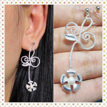 Flower Stem clip on earring |36S| non pierced dangle earringPearl Floral earring wedding clip on earring drop earring silver bridal earring
