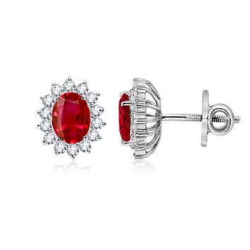 Oval Ruby and Diamond Floral Halo Earrings
