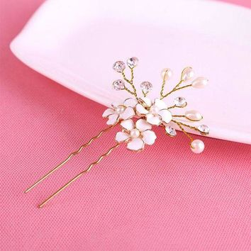 DCCKU62 1PC Gold Bridal Pearl Flower Hair Pins Clips Bridesmaid Hairband Rhinestone Headwear Wedding Hair Accessories Hair Jewelry D0033
