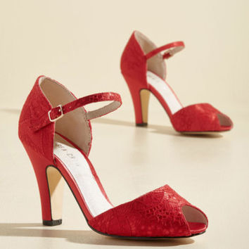 The Sole Works Peep Toe Heel in Scarlet | Mod Retro Vintage Heels | ModCloth.com
