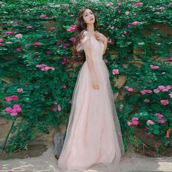 Women 2018 Spring Sexy V-neck Short Sleeve Pink Lace Dress Summer Long Maxi Party Vestidos Mujer