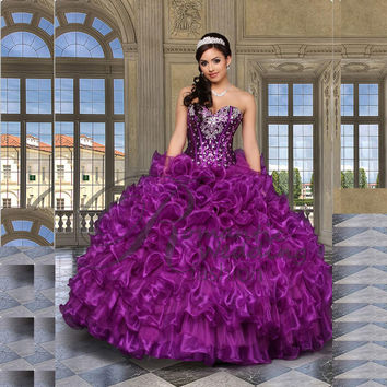 Sexy Beading Purple Quinceanera Dresses Ball Gowns For 15 Years Party Gowns Vestido