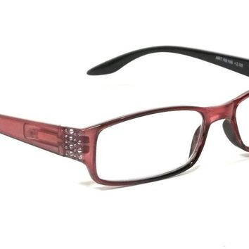 WOMEN RECTANGLE READING GLASSES CALIFORNIA CRYSTALS SPRING HINGES FRAME READERS