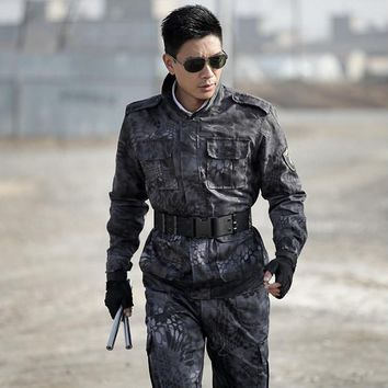 Free shipping special forces Camouflage suit European American Military Tactical uniform CS game Clothing Black Camouflage Sets