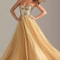 New Sexy Long Sequins Gold Tulle Bridesmaid/Prom/Party/Ball  from ilyear2013
