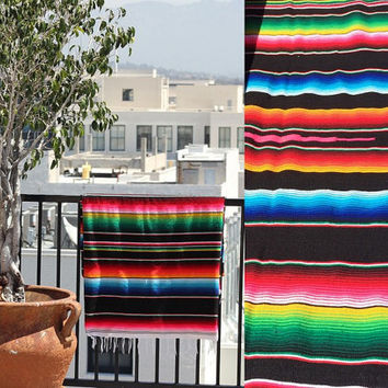 Vtg Bright Serape striped Mexican blanket textile throw beach bed rainbow Southwestern