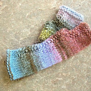 Fingerless gloves in salmon, pink, yellow, green, Fngerless  mittens, Knit gloves, Boho knit glove mittens, Girl's wool fingerless gloves