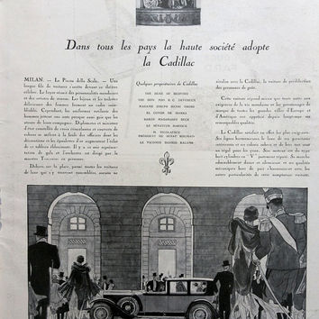 Cadillac advertising vintage poster, illustration print, car poster, French magazine poster, Cadillac automobiles original art deco ad