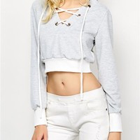Women Casual Multicolor V-Neck Bandage Hooded Long Sleeve Sweater Hoodie Tops