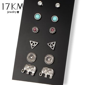 17KM Summer Style Vinatge Brincos Elephant Stud Earring 6 Pairs/Set Boho Antique Flower Crystal Earrings Set For Women Jewelry