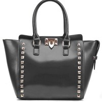 Battery Park Black Gold Faux Leather Pyramid Stud Handbag Tote Bag