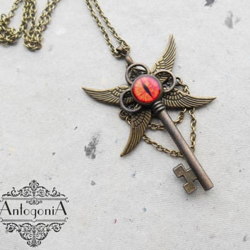 Fantasy Key Necklace,Dragon Eye jewelry,Steampunk jewelry,Winged Charms,Skeleton key steampunk,Fantasy pendant,Winged pendant jewelry,Sauron