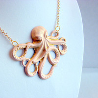 Octopus Charm Necklace - Pale Pink - Hand Painted Patina - Brass - Ocean Sea Tentacles