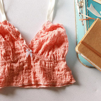 coral brocante ruffle bralette, vintage style bralette, bohochic lingerie