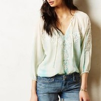 Dip-Dyed Silk Peasant Top by Anthropologie Blue L Skirts