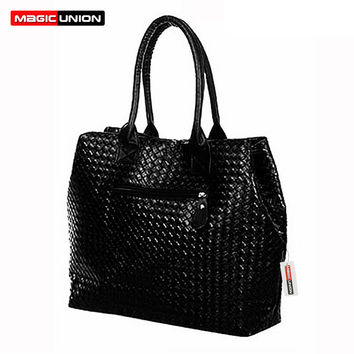 2016 new shopping bag women PU leather shoulder bags fashion big women's handbags woven tote ladies sac a main bag 10 colors
