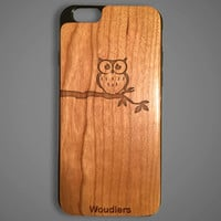 Owl wooden iPhone 6 case, protective hybrid rubber and wood, owl on branch case, iphone 6, galaxy s3, galaxy s4, galaxy s5, samsung galaxy