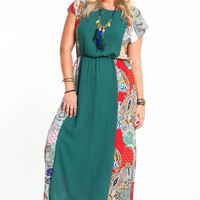 PLUS SIZE BOHO PRINT NECKLACE MAXI DRESS