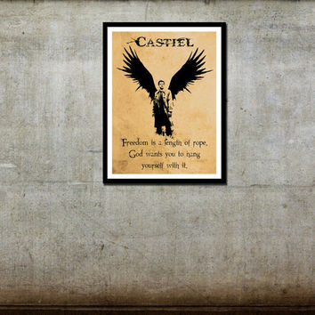 Castiel (Angel with Attitude) - Supernatural Inspired -  Movie Art Poster