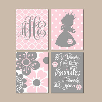 PRINCESS Wall Art, CANVAS or Prints, Baby Girl Nursery Decor, Girl Monogram, Pink Gray Princess Nursery, Princess Birthday Decor, Set of 4