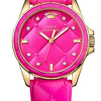 Juicy Couture 'Stella' Round Silicone Strap Watch, 35mm