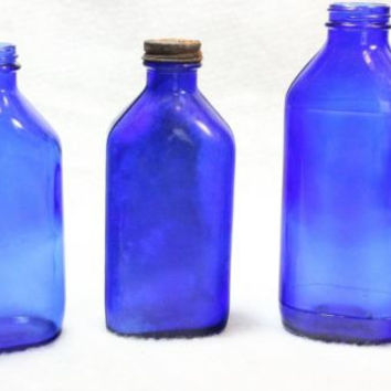 Vintage Cobalt Blue  Phillip's Milk of Magnesia Bottles lot