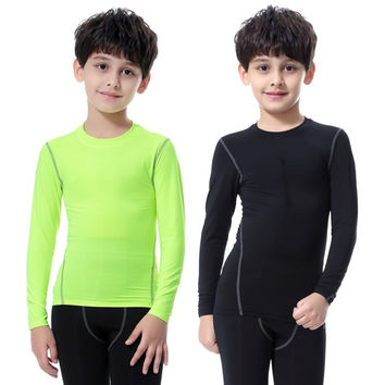 Childrens Kids Boy Girl Compression Base Layer Skins Tee Thermal Sports T- Shirt Quick-drying Clothes