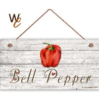 "Bell Pepper Sign, Garden Sign, Rustic Decor, Distressed Wood, Weatherproof, 5"" x 10"" Sign, Vegetable Sign, Gift For Gardener, Made To Order"