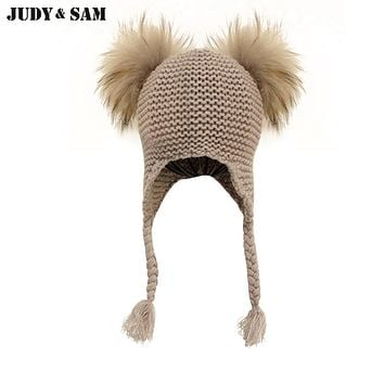 12 Colors Kids Winter Warm Crochet Tassel Hat for Girls Real Fur Pompom Cap Autumn Skullies Beanies Boys Knit Caps