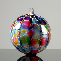 Hand Blown Glass Ornament, Party Mix over White with Ribbed Optic
