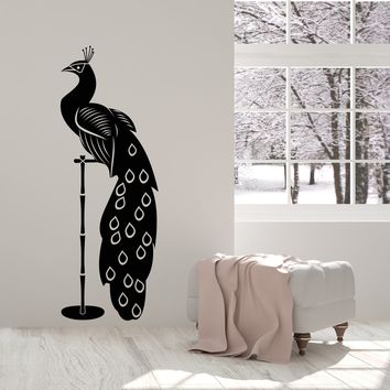 Vinyl Wall Decal Exotic Bird Peacock Animal Room Decor Stickers (2696ig)
