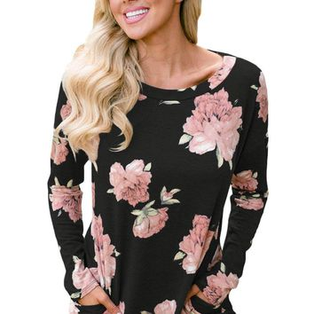 Floral Print Elbow Patch Black Long Sleeve Top