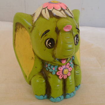 Retro Mod Flower Child Green Elephant Ceramic Bank Flower Power