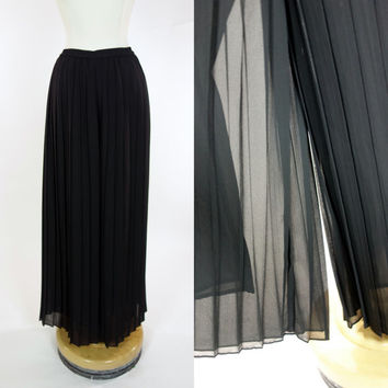 1980s black palazzo pants, pleated crepe wide leg high waist pants, Small, XS, 4, 6