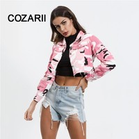 COZARII 2018 Camouflage Button Jacket Female Coat Drawstring Fitness Long Sleeve Winter Fashion Button Ladies Jackets Crop Top
