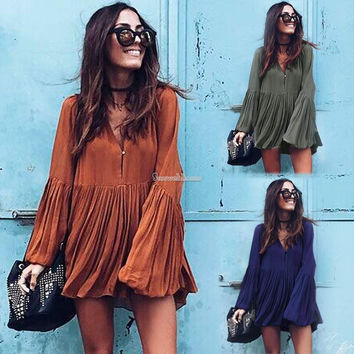 Women Long Sleeve Pleated Party Cocktail Mini Dress Long Top Sexy Shirt Dress SH