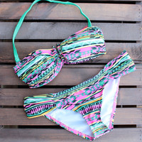 tribal print bikini set - multi