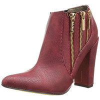 Michael Antonio Womens Joelle Faux Leather Distressed Ankle Boots