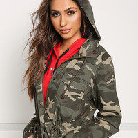 Camouflage Anorak Hooded Drawstring Jacket