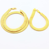 24k Gold Plated Mens Jewelry Sets Yellow Gold Golden Necklace Bracelet YHDS 8 MP
