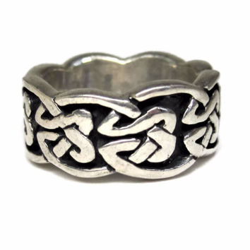 Wide Vintage 90s Sterling Celtic Band Ring Size 5