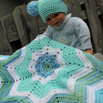 Baby boy afghan blanket and hat crochet in blue by scraptrapped