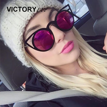 VictoryLip Fashion Cat Eye Mirror Sunglasses Women Brand Designer Metal Frame Sun Glasses Optical transparency Frame Cateye