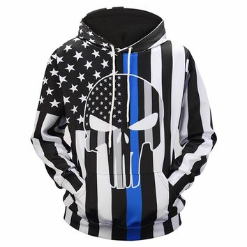 Skull Hoodie Men/Women Thin 3d Print Striped Stars US Flag