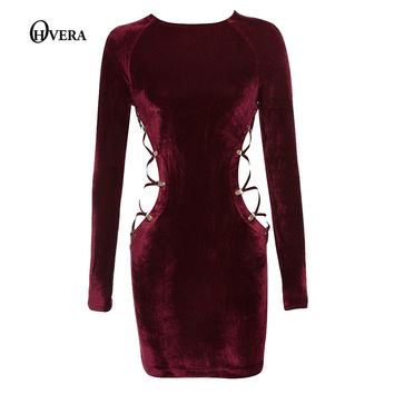 Latest design Good Quality Red Long Sleeve Slip  Sexy Dress 2017 Autumn Women O-Neck  Night Club Wear bandage Mini dress