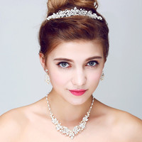 Silver Rhinestone Wedding Jewelry Sets Handmade Pearl Necklace Earrings Set Fashion Wedding Jewelry Sets For Brides With Tiara